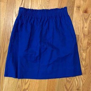 """J Crew blue """"paper bag"""" waist skirt, size 4"""